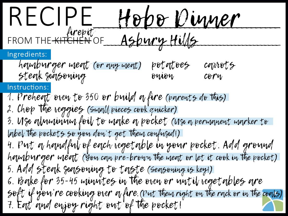 hobo recipe card